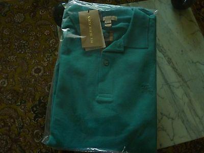 $175 BURBERRY Brit Men's Check Placket Piqué Polo Shirt Logo Green - NEW - Sz. L