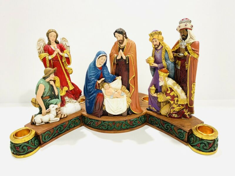 Avalon Gallery Advent Wreath Candleholder Holy Family Nativity Scene Christmas
