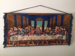 "Vintage plush woven tapestry ""The Last Supper"" 1010W x 500mm"