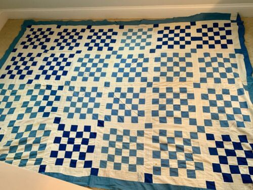Antique Vintage  Quilt top Blue & White  62 x 89 Sugar sacks San Francisco