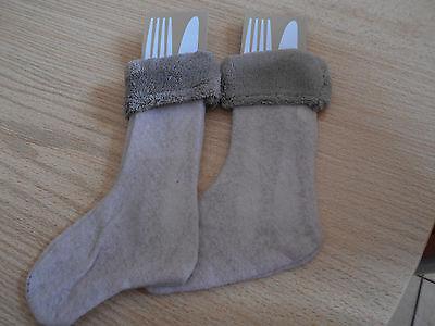 2 Bestecktaschen - Stiefel - braun - Weihnachten - NEU