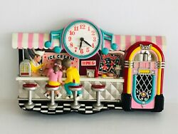 Vintage 1987 New Haven Quartz Wall Clock Ice Cream Soda & Sundaes Parlor
