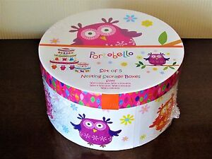 Gorgeous Set Of 5 Nested Round Storage/Hat/Gift Boxes Cardboard/Paper