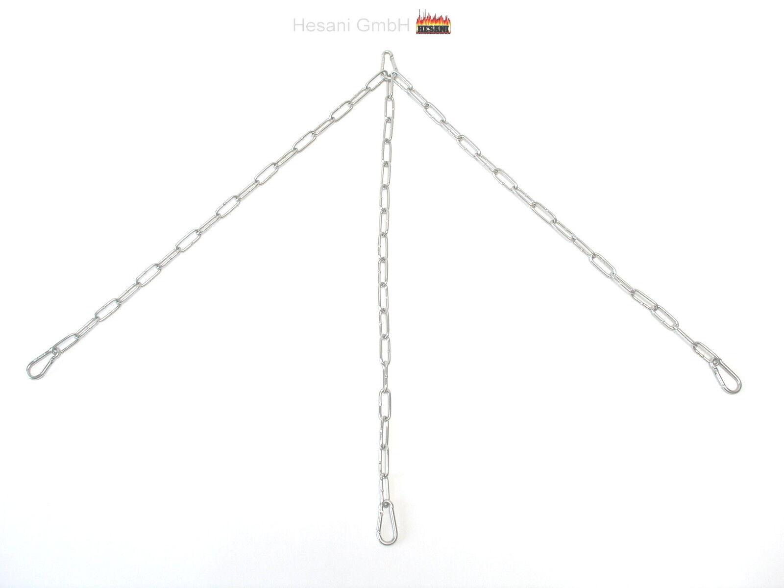 75 cm Kettensatz Edelstahl für Grillrost Aufhängung Grillkette Dreibein Kette