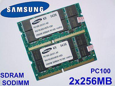 512MB 2x256MB PC100 SDRAM CL2 SODIMM 144pin 100MHz NOTEBOOK LAPTOP RAM -