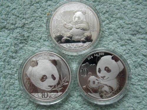 2017-2018- 2019 Chinese Silver Panda 10 Yuan BU (Set of 3 Coins)