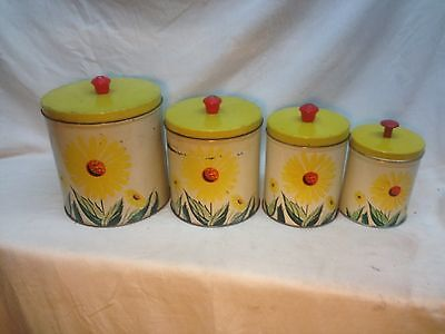 VINTAGE MID-CENTURY 4 PIECE CANISTER SET WITH PRETTY YELLOW DAISY