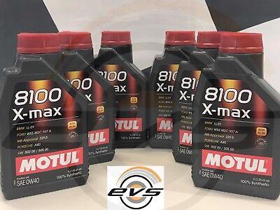 6 Litri Motul 8100 X-max 0W40 Acea A3 B4 API SN-CF Olio Motore 100% Sintetico