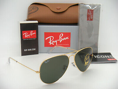 RAY BAN 3025 RB3025 AVIATOR GOLD FRAME GREEN G-15 XLT RB 3025 001 62mm LARGE