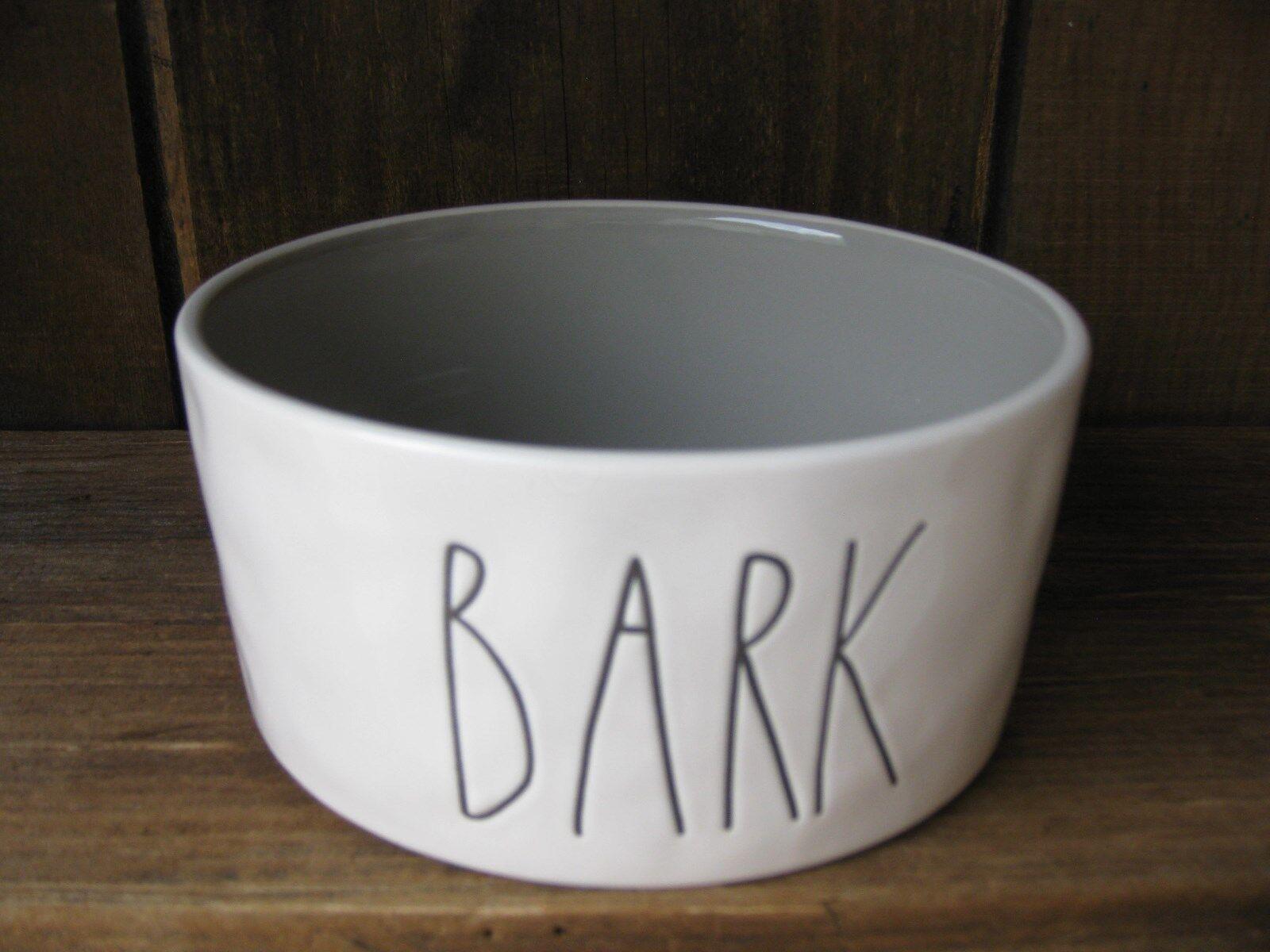 Rae DUNN BARK DOG CAT Pet FOOD Water BOWL BLACK ETCHING Gray Inside MAGENTA NEW