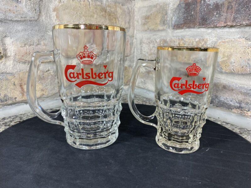 VINTAGE SET X2 CARLSBERG GLASS BEER STEIN MUGS W/ Imperial Crown Pint Stamp NICE