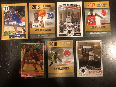 Zion Williamson 7 Different Card Rookie  Spartanburg High All American Duke ()