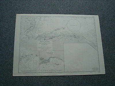 Vintage Admiralty Chart 1219 WEST INDIES - CABO GRACIAS TO BELIZE - 1924 edn