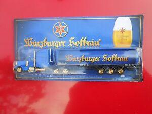 Modellino-autocarro-per-birra-Rimorchio-trasporto-CAMION-US-Mack-Wurzburger