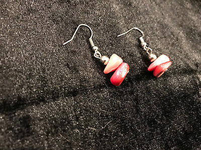 Ohrringe - Modeschmuck - altrosa - rosa farbene Steine - selbstgemacht