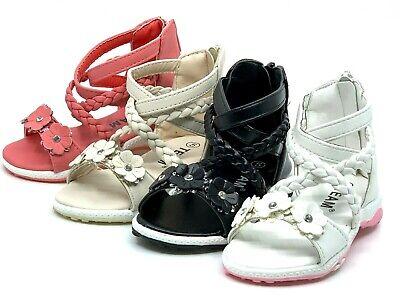 Baby Toddler Girls Adorable Gladiator Sandals Shoes Size 4-10 Black Pink White
