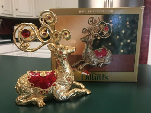 Vintage Ornate Deer Figurine Jeweled Pewter w/ Gold Finish Dillard
