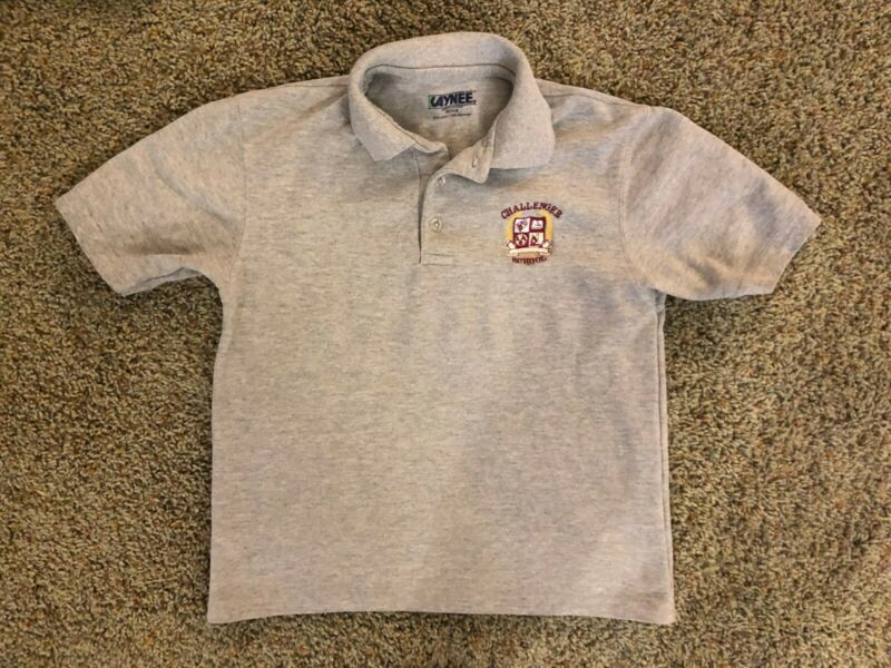Challenger School Short Sleeve Grey Polo Shirt Youth Medium