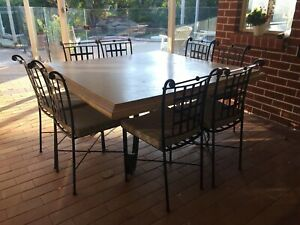 Stone and Iron Outdoor table and chairs