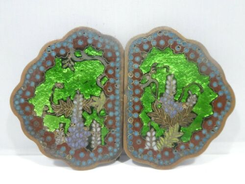 ANTIQUE INTRICATE CHINESE CLOISONNE GINBARI FOIL BELT BUCKLE