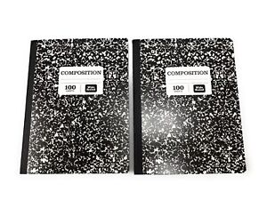 2 Pack 100 Sheets 200 Pages Composition School Note Books Wide Ruled