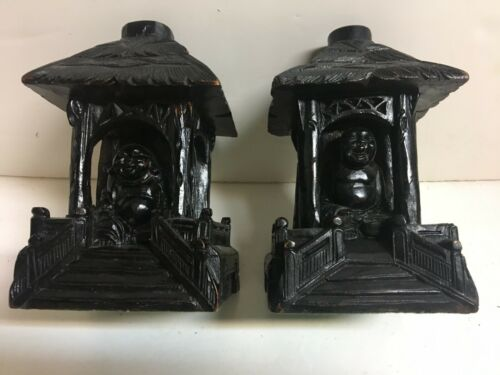 ANTIQUE VINTAGE WOOD CARVED CHINA BUDDHA IN TEMPLE TABLE LAMPS OR BOOKENDS