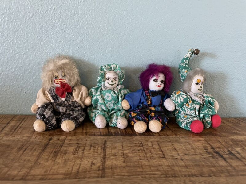 Vintage Sand Clowns Small Rare Collectable Hand Painted Porcelain Circus