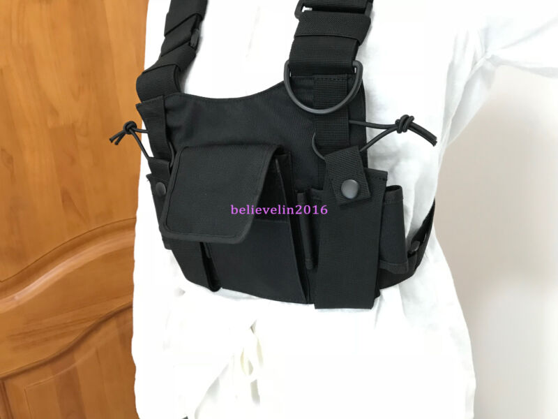3 Pocket  Outdoor Chest Harness Bag Pack Pouch Vest Rig For Baofeng Radio