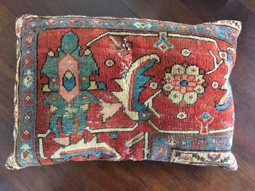 Vintage Antique 19th Century Large Persian Serapi Rug Pillow - Hollywood Regency