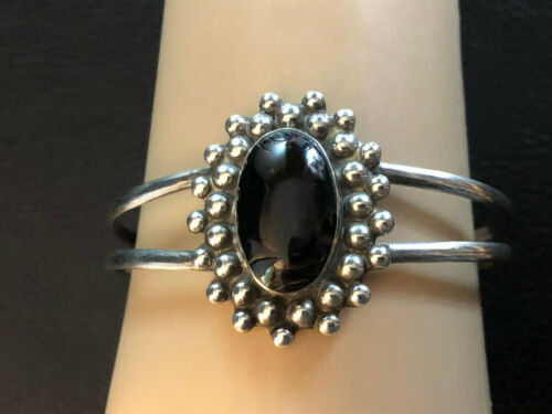 "VTG Sterling Silver Bracelet Cuff Amber? Brown Southwest Mexico 5.75"" 20g #1269"