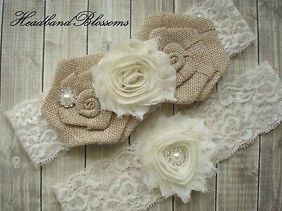 Burlap Ivory Lace Bridal Garter Set - Wedding Garter - Keepsake and Toss Garder