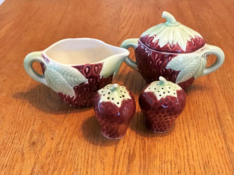 Vtg Nancy China USA Ceramic Strawberry Condiment Set/Sugar Creamer S&P Shakers