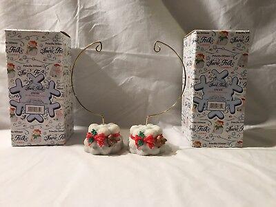 Enesco Priscilla Hillman Snow Folks Ornament Stands - Set Of 2 New In Boxes