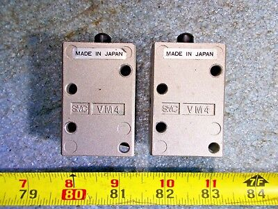 Smc Vm4 Pneumatic Air Push Button Valve Removed From Working Lot Of 2 Pieces