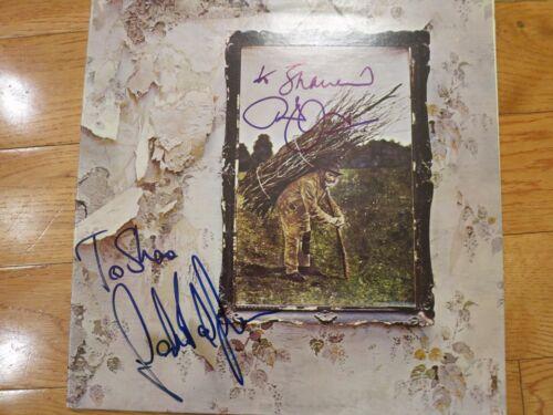 Led Zeppelin signed lp by Robert Plant & John Paul Jones coa + Proof! autograph