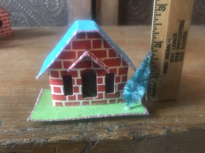 VTG Christmas Village Cardboard A FRAME BRICK Putz House Japan RARE Snow RED