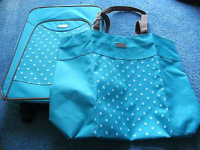 2er- Reise-Set:Trolley (Koffer)+Tasche,(Shopper)hellblau mit weißen Punkten-NEU