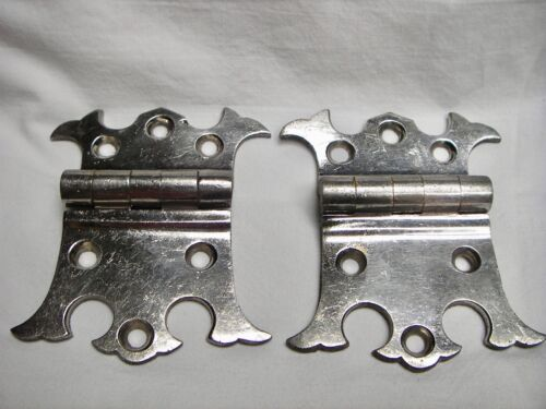 Antique Pair of Nickel Plated Brass Offset Decorative Ice Box Hinges
