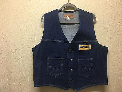 Vtg WRANGLER made USA blue jean denim vest sewn patch logos Mens XL