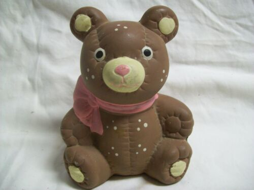 Vintage Ceramic Teddy Bear Coin Bank with Spots & Pink Bow