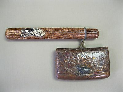 Japanese Antique INRO Tobacco pouch wallet and pipe case