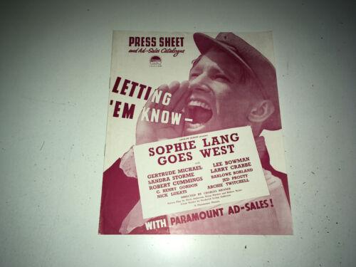 SOPHIE LANG GOES WEST Movie Pressbook 1937 Gertrude Michael Film Noir Crime