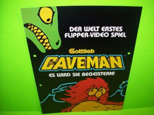 Gottlieb CAVEMAN German Text Original 1982 Flipper Game Pinball Machine Flyer