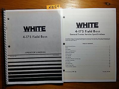 Wfe White 4-175 Field Boss Tractor Owner Operator Manual Service Specification