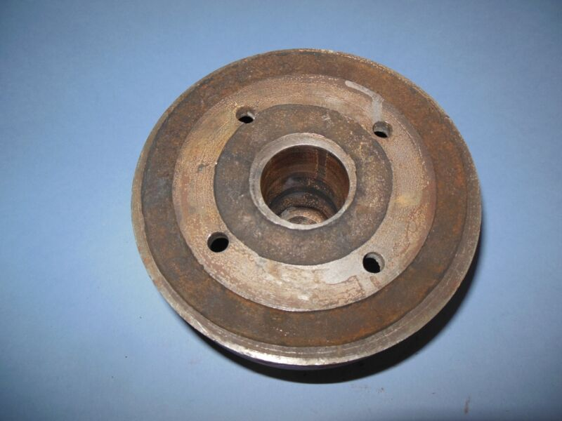 """6"""" Flat Belt Pulley Sheave  /  with crown  2 3/4"""" flat with morse taper bore"""