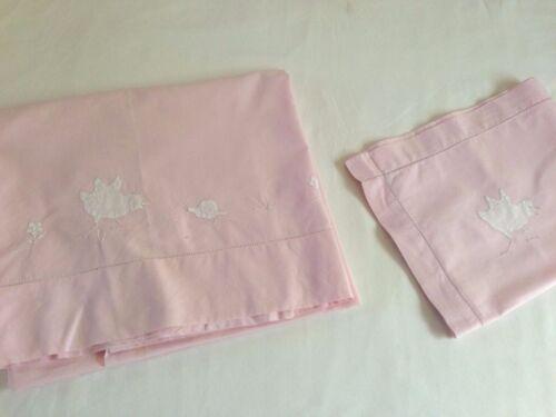 Antique Vintage French Parisian Cotton Pale Pink Crib Blanket And Pillow Sham