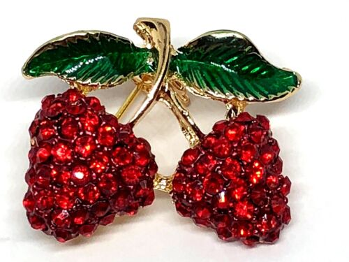 "Strawberry rhinestone Brooch pin 1""x1"" GIFT gold tone gift idea #6 mothers day"