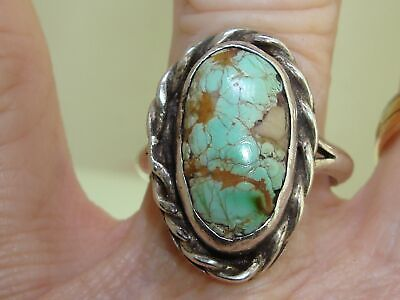 1940s Jewelry Styles and History VINTAGE 1940'S ERA OLD PAWN NATIVE AMERICAN STERLING & GREEN TURQUOISE RING!   $124.95 AT vintagedancer.com