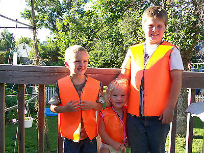 vinyl / cotton child/youth orange hunting / safety vest size 3-12. Also 1-2 - Orange Vest