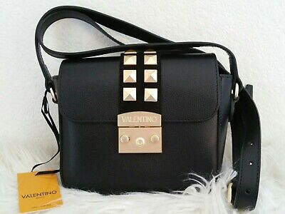 Valentino by Mario Pyramid Rockstud Black Leather Crossbody Bag NEW with tags